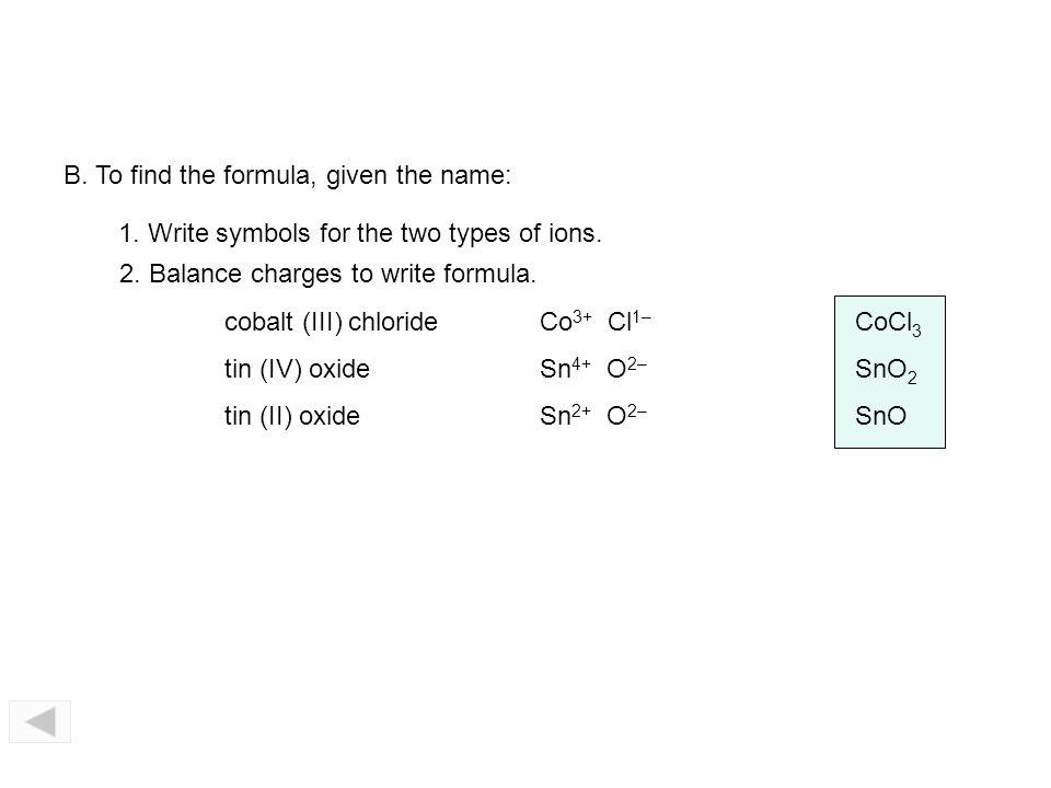 Cu 2 Br 1– Cu Br 1– 2 Fe 3 O 2– Fe O 2– Stock System of nomenclature 4. Write name of anion. FeO Fe 2 O 3 CuBr CuBr 2 iron (II) oxide iron (III) oxide