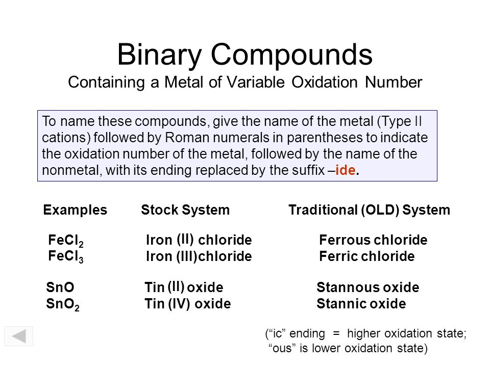 Binary Compounds Metals (variable oxidation) + Nonmetals