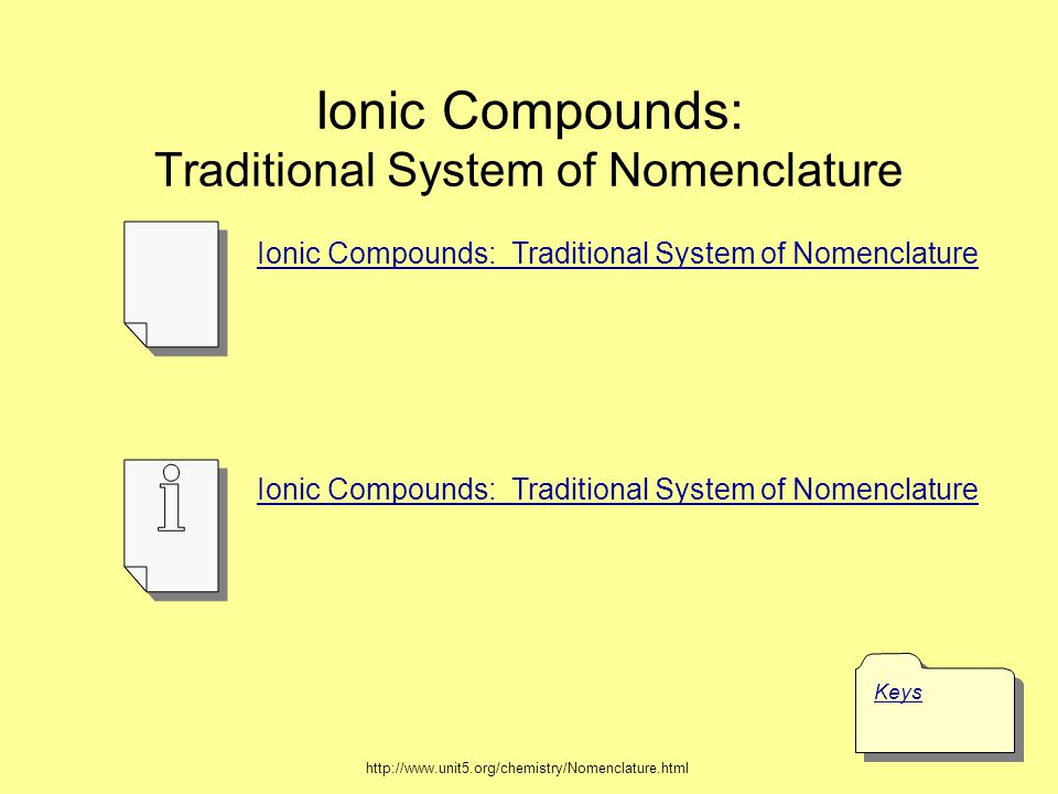 Ionic Formulas (Binary, Polyatomic, Transition Metals) Keys Ionic Formula (Binary, Polyatomic, Transition Metals) Formulas of Ionic Compounds http://www.unit5.org/chemistry/Nomenclature.html