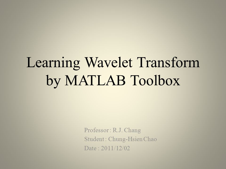 Wavelet transform toolbox in MATLAB(count.)