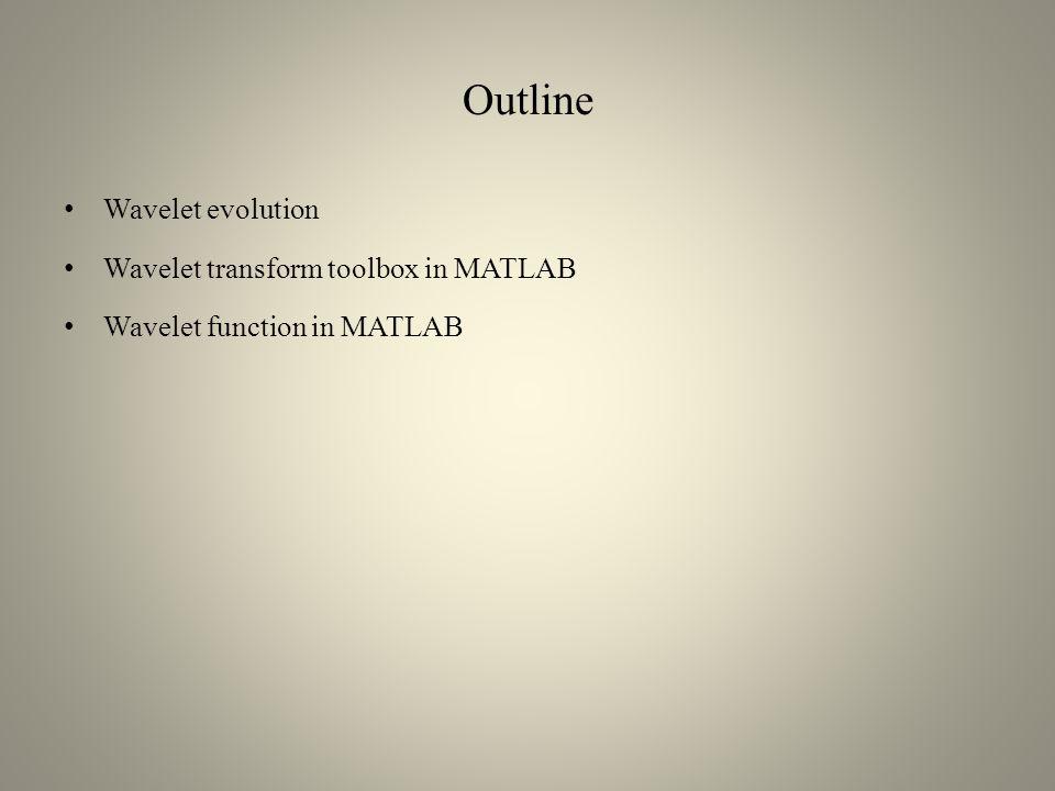 Outline Wavelet evolution Wavelet transform toolbox in MATLAB Wavelet function in MATLAB