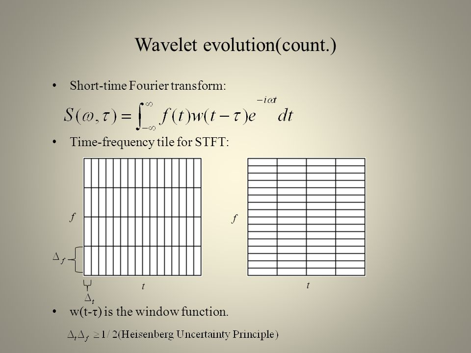 Wavelet evolution(count.) Wavelet transform: Time-frequency tile for wavelet transform: f t Translations and Scaling of a Wavelet