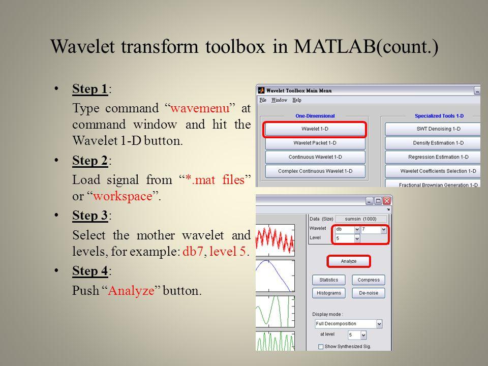 Wavelet transform toolbox in MATLAB(count.) The signals include approximations(a) and Details(d): s = a5+d5+d4+d3+d2+d1 a5d5 d4 d3 d2 d1