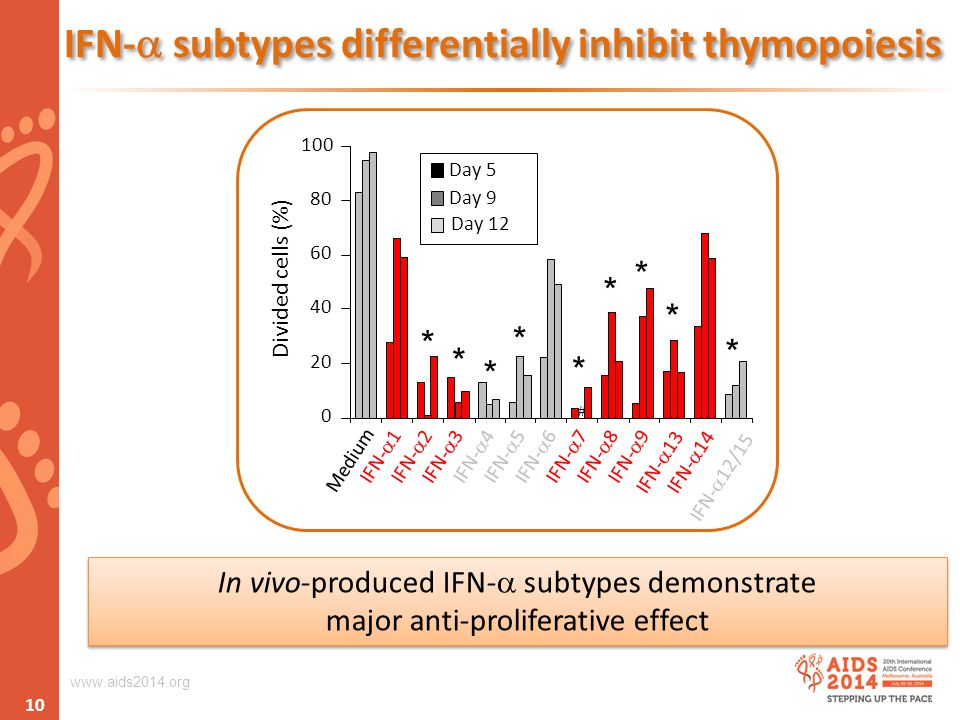 www.aids2014.org IFN-  subtypes differentially inhibit thymopoiesis # 0 20 40 60 80 100 Medium IFN-  1IFN-  2IFN-  3IFN-  4IFN-  5IFN-  6IFN-  7IFN-  8IFN-  9 IFN-  13IFN-  14 IFN-  12/15 Divided cells (%) Day 5 Day 9 Day 12 In vivo-produced IFN-  subtypes demonstrate major anti-proliferative effect In vivo-produced IFN-  subtypes demonstrate major anti-proliferative effect 10 * * * * * * * * *