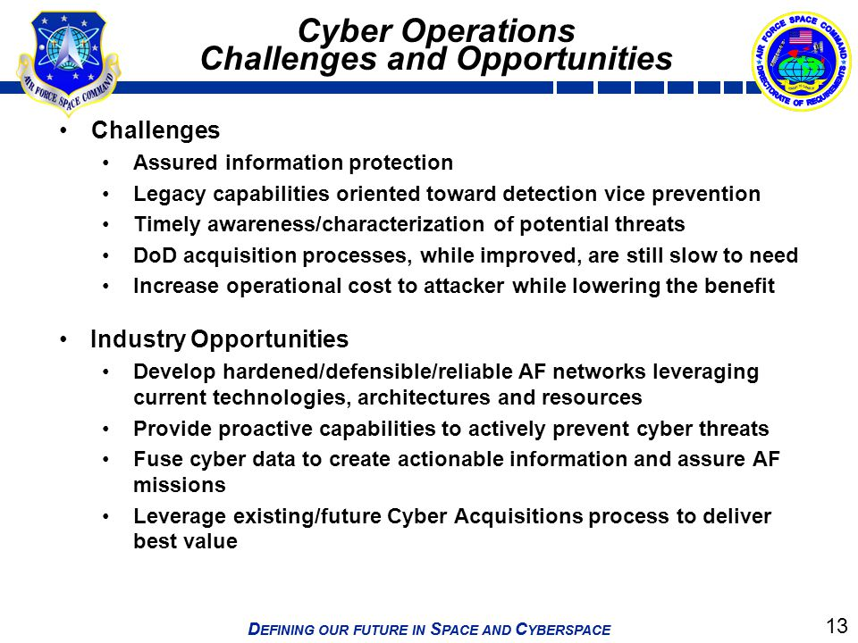 13 D EFINING OUR FUTURE IN S PACE AND C YBERSPACE Cyber Operations Challenges and Opportunities Challenges Assured information protection Legacy capab