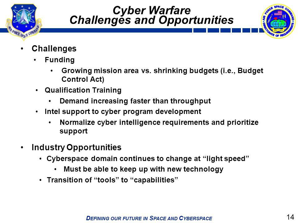 14 D EFINING OUR FUTURE IN S PACE AND C YBERSPACE Cyber Warfare Challenges and Opportunities Challenges Funding Growing mission area vs. shrinking bud