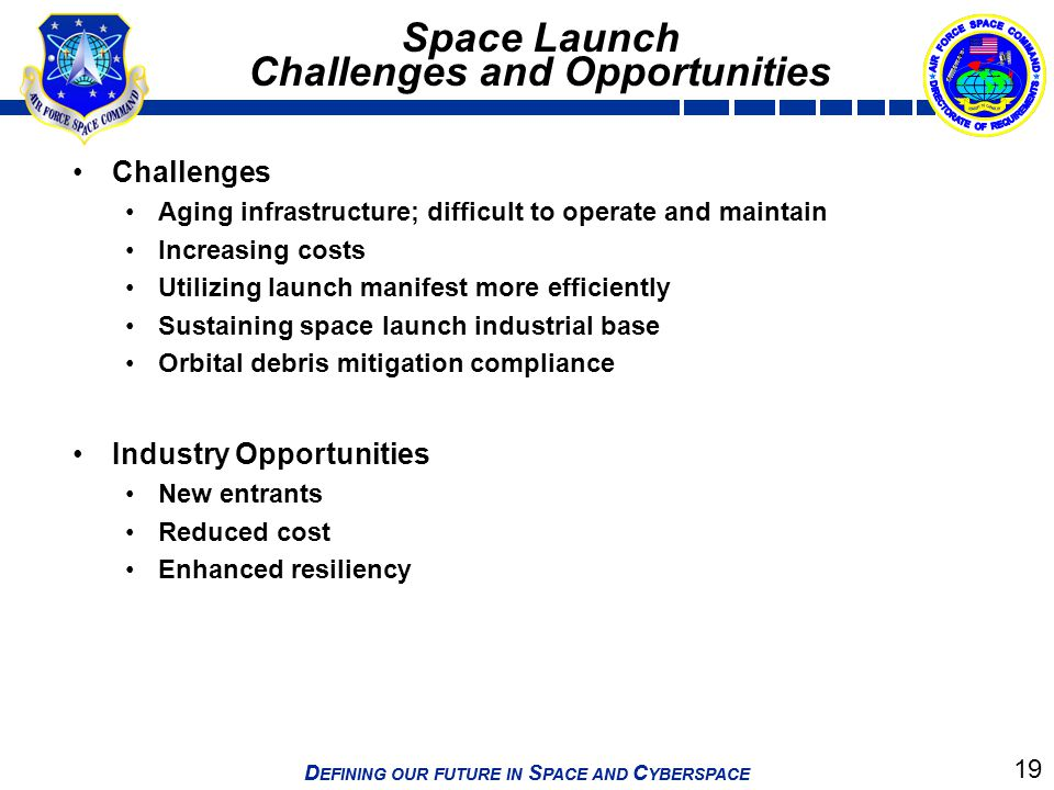 19 D EFINING OUR FUTURE IN S PACE AND C YBERSPACE Space Launch Challenges and Opportunities Challenges Aging infrastructure; difficult to operate and