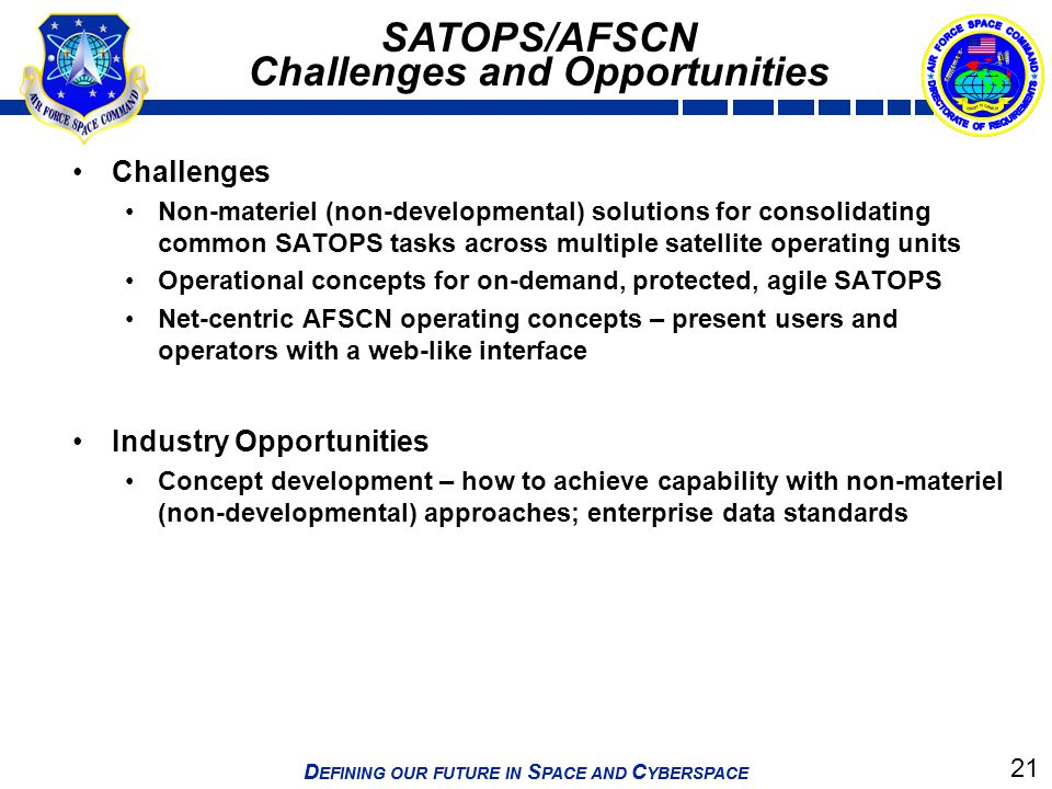21 D EFINING OUR FUTURE IN S PACE AND C YBERSPACE SATOPS/AFSCN Challenges and Opportunities Challenges Non-materiel (non-developmental) solutions for