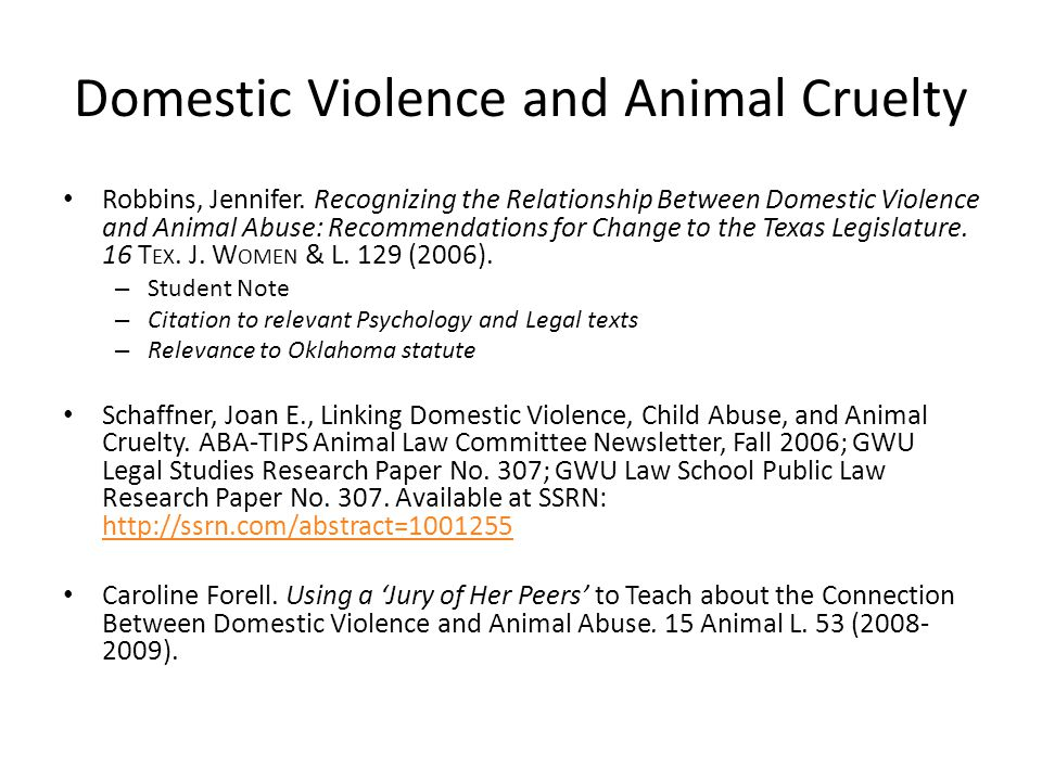 Domestic Violence and Animal Cruelty Robbins, Jennifer.