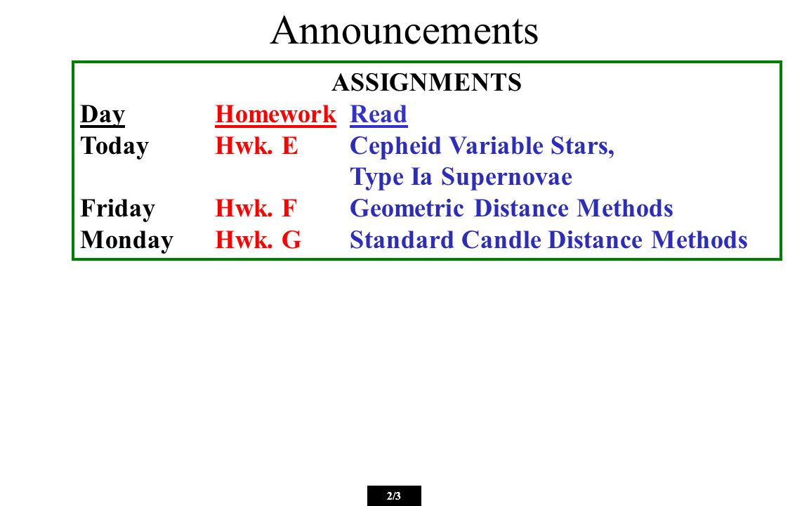 Announcements 2/3 ASSIGNMENTS DayHomeworkRead TodayHwk.