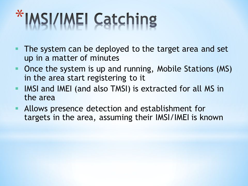  The system can be deployed to the target area and set up in a matter of minutes  Once the system is up and running, Mobile Stations (MS) in the are