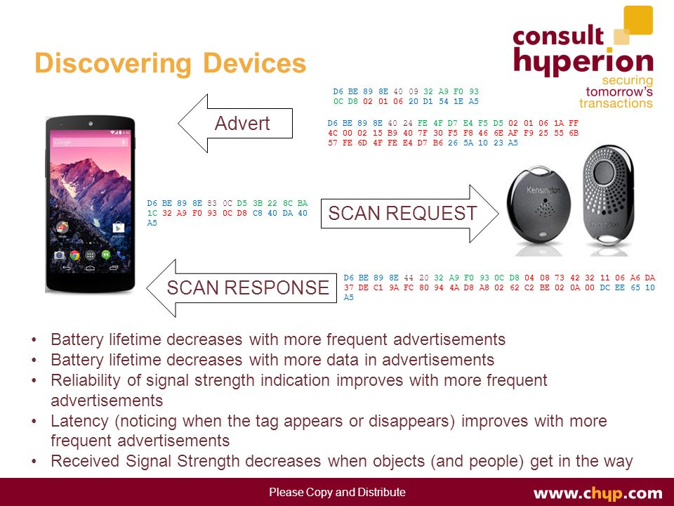 Discovering Devices Please Copy and Distribute Advert SCAN REQUEST SCAN RESPONSE Battery lifetime decreases with more frequent advertisements Battery lifetime decreases with more data in advertisements Reliability of signal strength indication improves with more frequent advertisements Latency (noticing when the tag appears or disappears) improves with more frequent advertisements Received Signal Strength decreases when objects (and people) get in the way D6 BE 89 8E 40 09 32 A9 F0 93 0C D8 02 01 06 20 D1 54 1E A5 D6 BE 89 8E 40 24 FE 4F D7 E4 F5 D5 02 01 06 1A FF 4C 00 02 15 B9 40 7F 30 F5 F8 46 6E AF F9 25 55 6B 57 FE 6D 4F FE E4 D7 B6 26 5A 10 23 A5 D6 BE 89 8E 83 0C D5 3B 22 8C BA 1C 32 A9 F0 93 0C D8 C8 40 DA 40 A5 D6 BE 89 8E 44 20 32 A9 F0 93 0C D8 04 08 73 42 32 11 06 A6 DA 37 DE C1 9A FC 80 94 4A D8 A8 02 62 C2 BE 02 0A 00 DC EE 65 10 A5