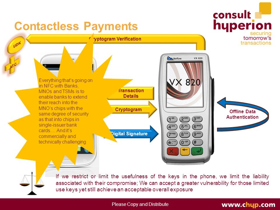 Contactless Payments Transaction Details Offline Data Authentication Cryptogram Verification If we restrict or limit the usefulness of the keys in the phone, we limit the liability associated with their compromise; We can accept a greater vulnerability for those limited use keys yet still achieve an acceptable overall exposure Please Copy and Distribute Cryptogram Digital Signature Everything that's going on in NFC with Banks, MNOs and TSMs is to enable banks to extend their reach into the MNO's chips with the same degree of security as that into chips in single-issuer bank cards....