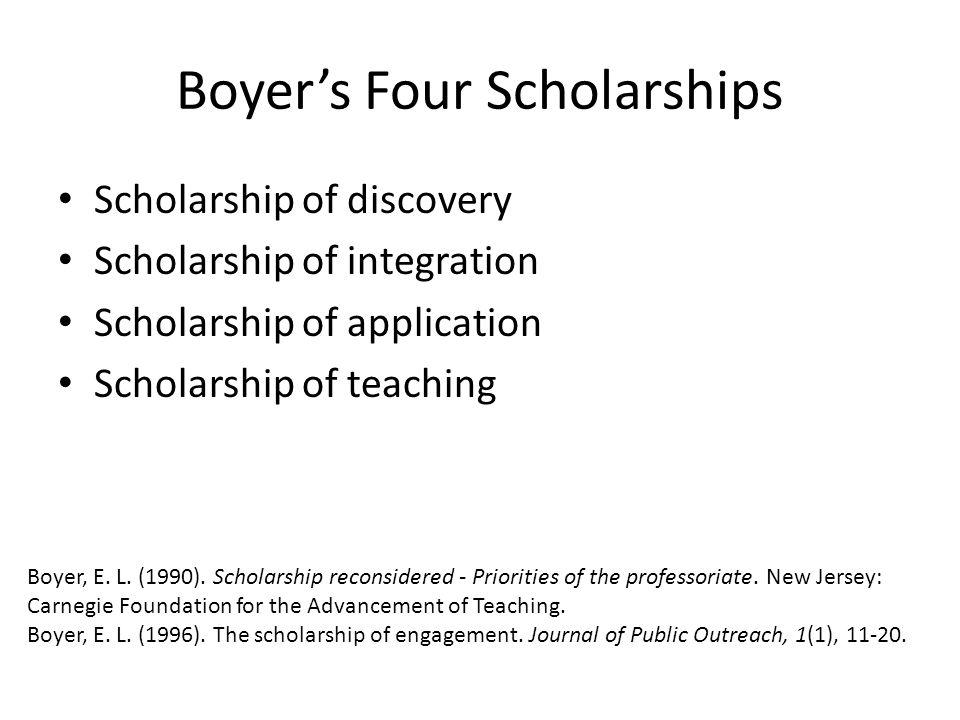 Boyer's Four Scholarships Scholarship of discovery Scholarship of integration Scholarship of application Scholarship of teaching Boyer, E.