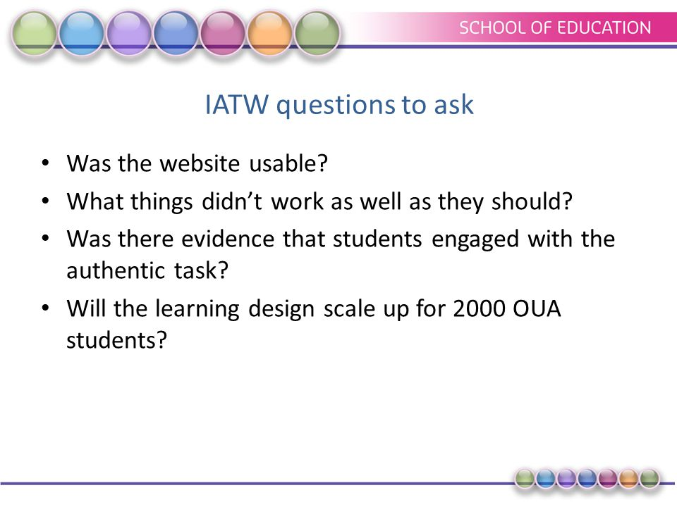 IATW questions to ask Was the website usable? What things didn't work as well as they should? Was there evidence that students engaged with the authen