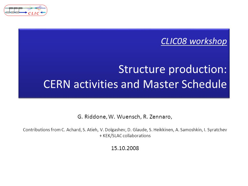 CLIC08 workshop Structure production: CERN activities and Master Schedule G.