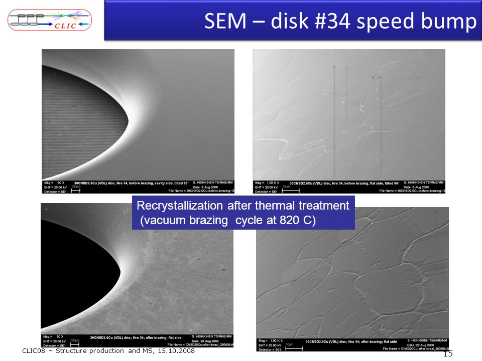 SEM – disk #34 speed bump CLIC08 – Structure production and MS, 15.10.2008 15 Recrystallization after thermal treatment (vacuum brazing cycle at 820 C)