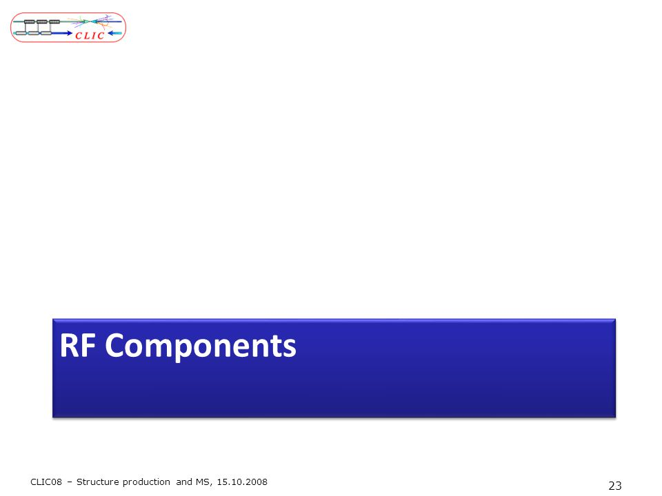 RF Components CLIC08 – Structure production and MS, 15.10.2008 23