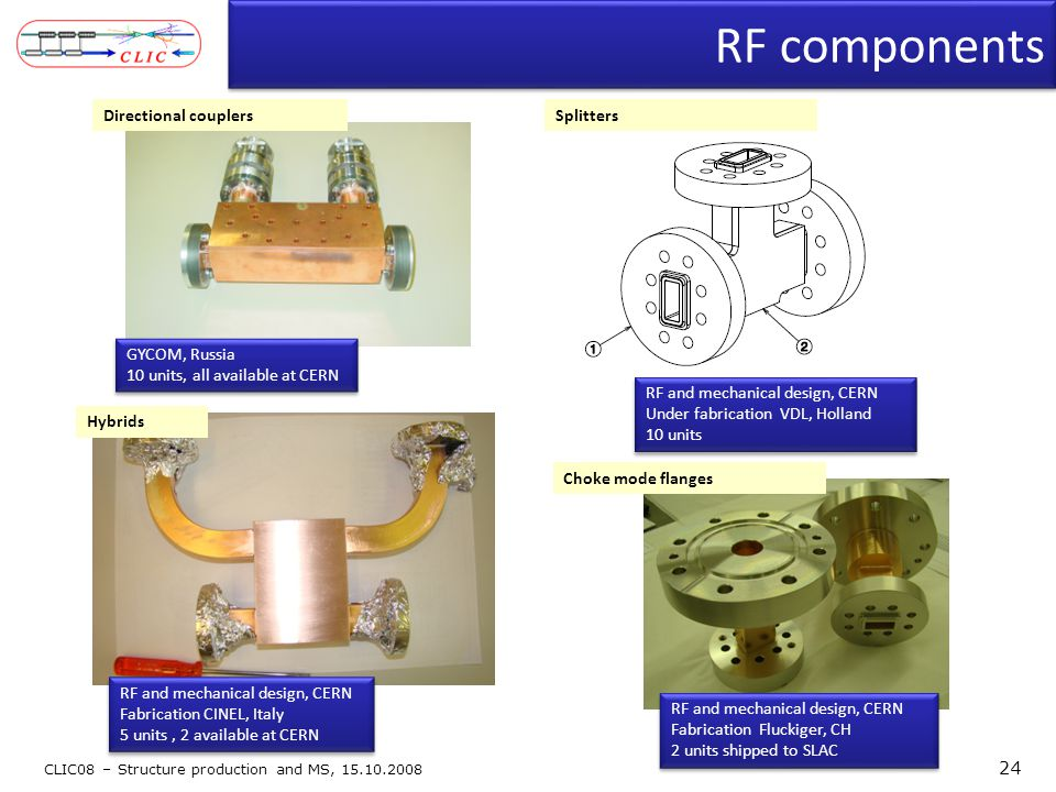 RF components CLIC08 – Structure production and MS, 15.10.2008 24 Hybrids GYCOM, Russia 10 units, all available at CERN GYCOM, Russia 10 units, all available at CERN RF and mechanical design, CERN Under fabrication VDL, Holland 10 units RF and mechanical design, CERN Under fabrication VDL, Holland 10 units Splitters RF and mechanical design, CERN Fabrication CINEL, Italy 5 units, 2 available at CERN RF and mechanical design, CERN Fabrication CINEL, Italy 5 units, 2 available at CERN Directional couplers Choke mode flanges RF and mechanical design, CERN Fabrication Fluckiger, CH 2 units shipped to SLAC RF and mechanical design, CERN Fabrication Fluckiger, CH 2 units shipped to SLAC