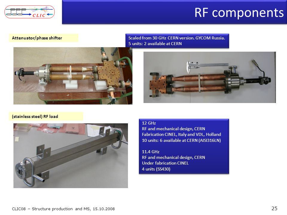 RF components CLIC08 – Structure production and MS, 15.10.2008 25 12 GHz RF and mechanical design, CERN Fabrication CINEL, Italy and VDL, Holland 10 u