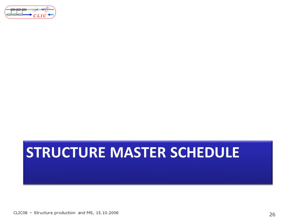 STRUCTURE MASTER SCHEDULE CLIC08 – Structure production and MS, 15.10.2008 26