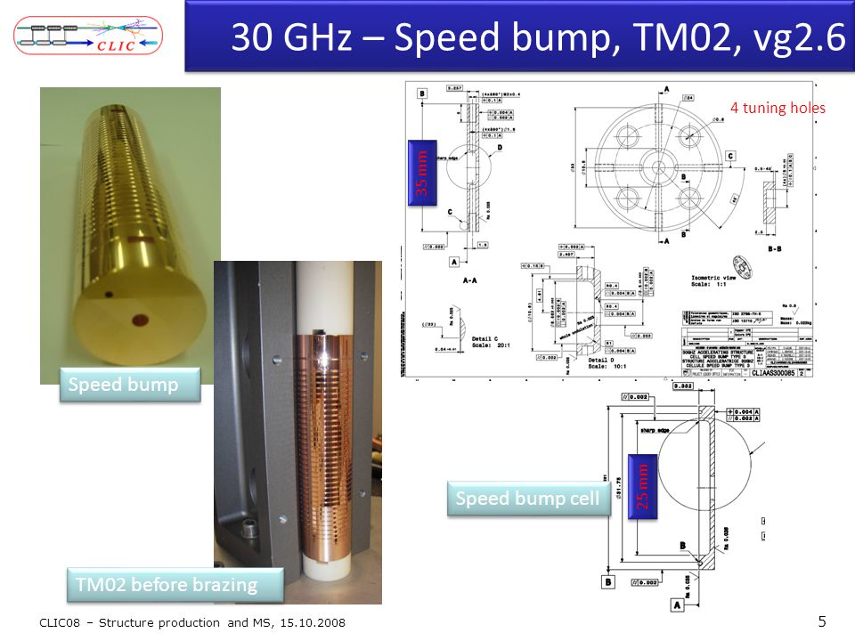 30 GHz – Speed bump, TM02, vg2.6 CLIC08 – Structure production and MS, 15.10.2008 5 35 mm 4 tuning holes 25 mm TM02 before brazing Speed bump Speed bu