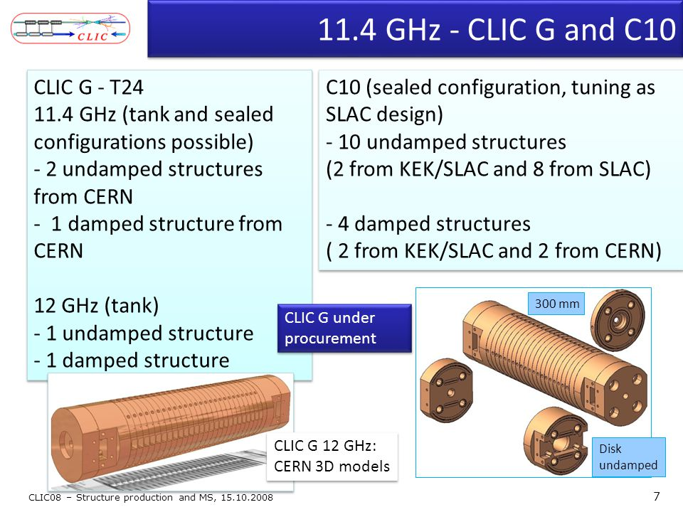 11.4 GHz - CLIC G and C10 CLIC G - T24 11.4 GHz (tank and sealed configurations possible) - 2 undamped structures from CERN - 1 damped structure from