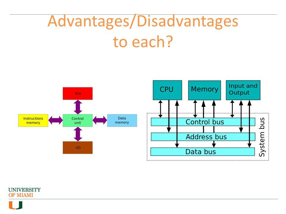Advantages/Disadvantages to each