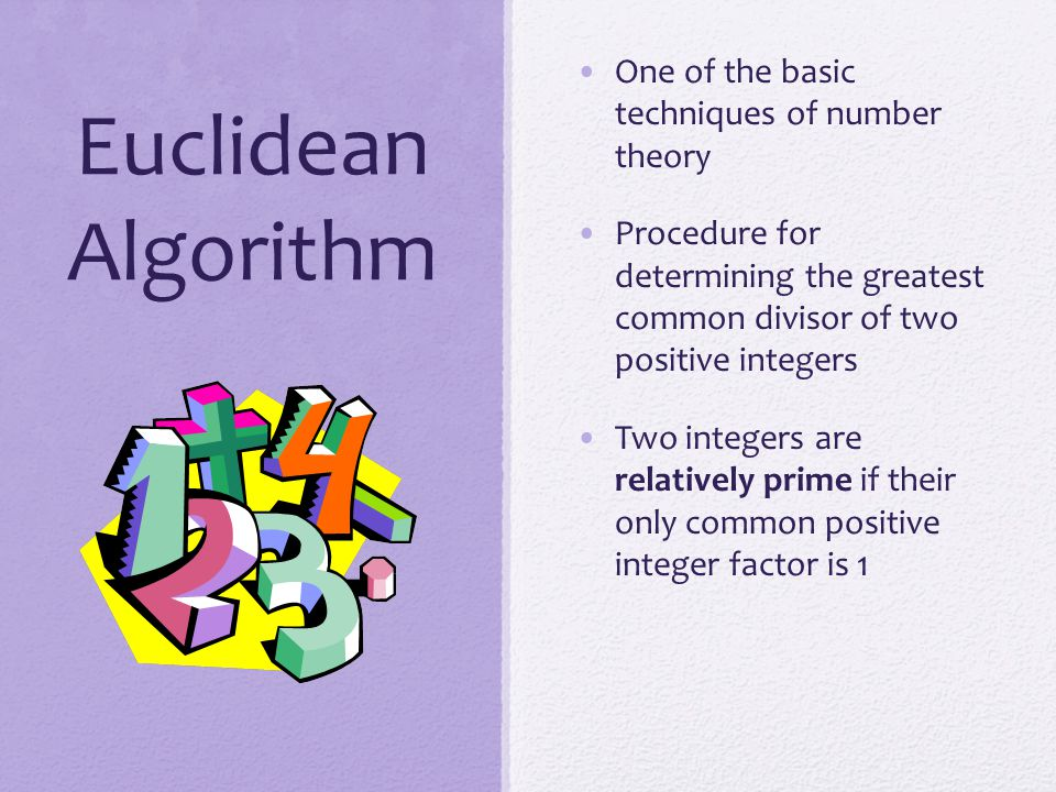 Summary Divisibility and the division algorithm The Euclidean algorithm Modular arithmetic Groups, rings, and fields Finite fields of the form GF(p) Polynomial arithmetic Finite fields of the form GF(2 n )