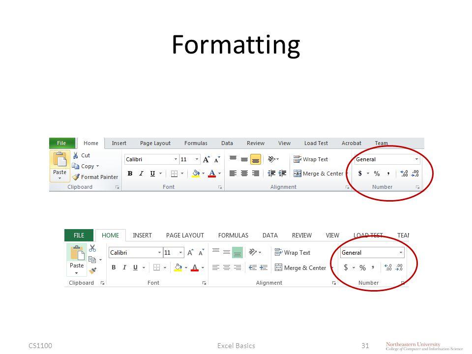 Formatting CS1100Excel Basics31