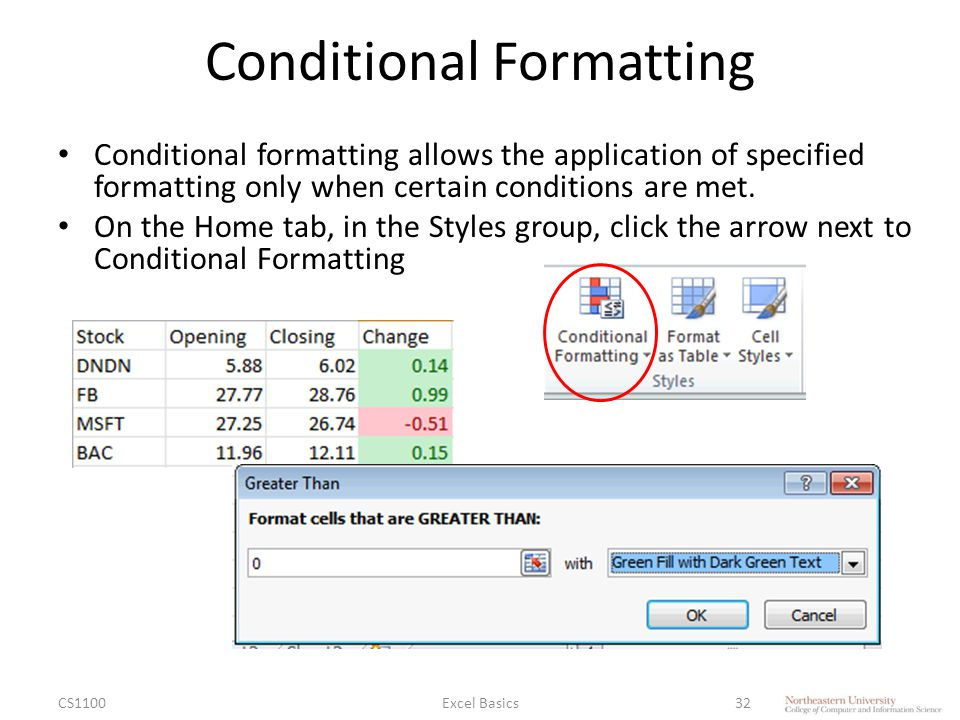 Conditional Formatting Conditional formatting allows the application of specified formatting only when certain conditions are met.