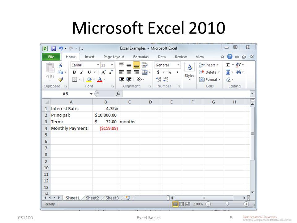 Microsoft Excel 2010 CS1100Excel Basics5
