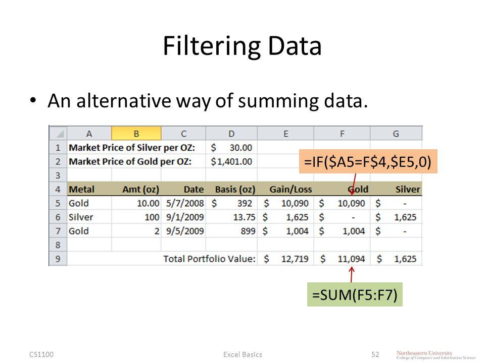 Filtering Data An alternative way of summing data.