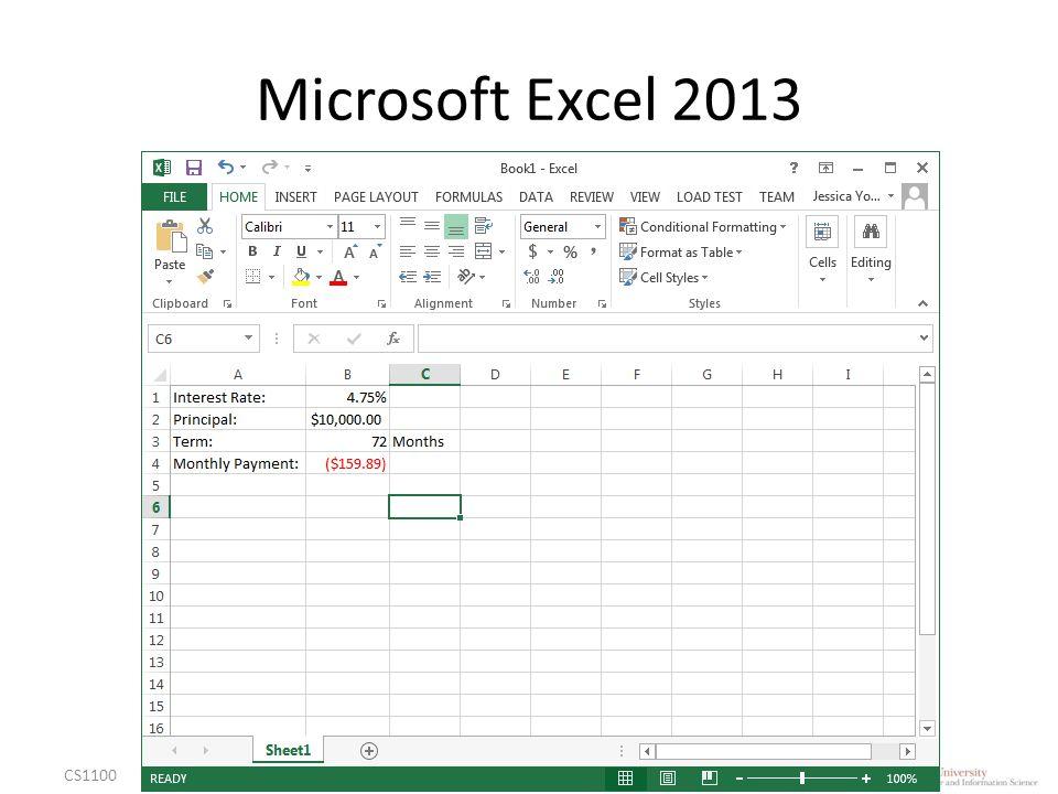 Microsoft Excel 2013 CS1100Excel Basics6