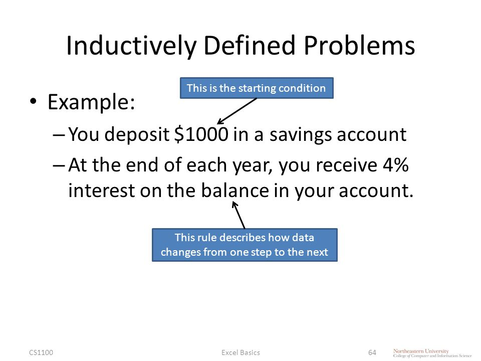 Inductively Defined Problems Example: – You deposit $1000 in a savings account – At the end of each year, you receive 4% interest on the balance in your account.