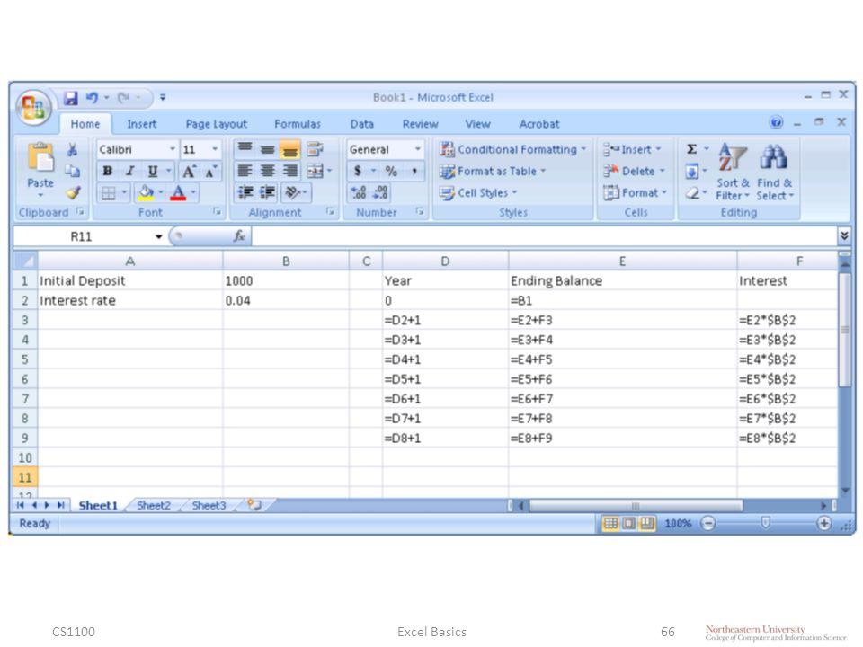 CS1100Excel Basics66