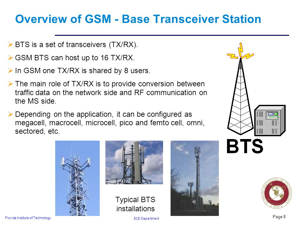 ECE Department Florida Institute of Technology Page 8 Overview of GSM - Base Transceiver Station  BTS is a set of transceivers (TX/RX).