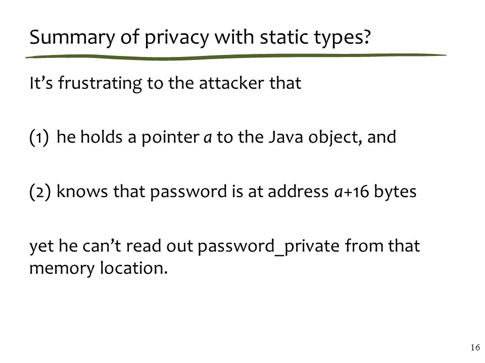 Summary of privacy with static types.