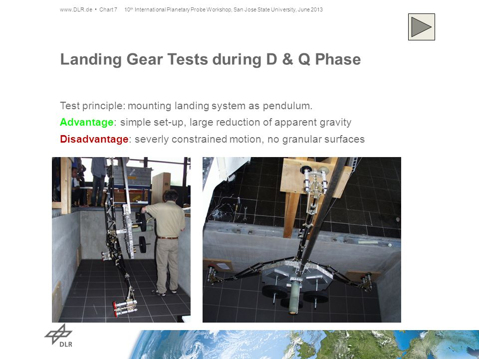 Landing Gear Tests during D & Q Phase Test principle: mounting landing system as pendulum.