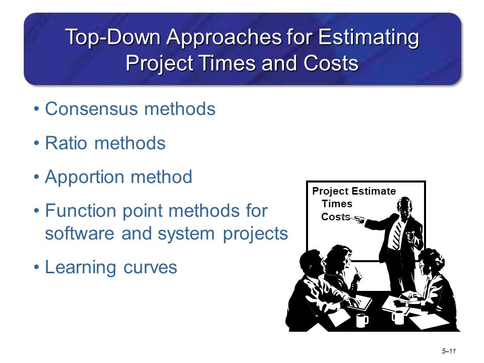 5–11 Top-Down Approaches for Estimating Project Times and Costs Consensus methods Ratio methods Apportion method Function point methods for software a