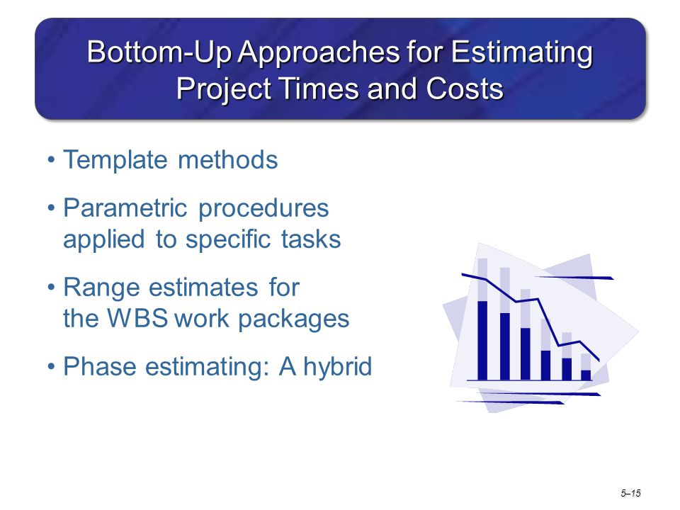 5–15 Bottom-Up Approaches for Estimating Project Times and Costs Template methods Parametric procedures applied to specific tasks Range estimates for