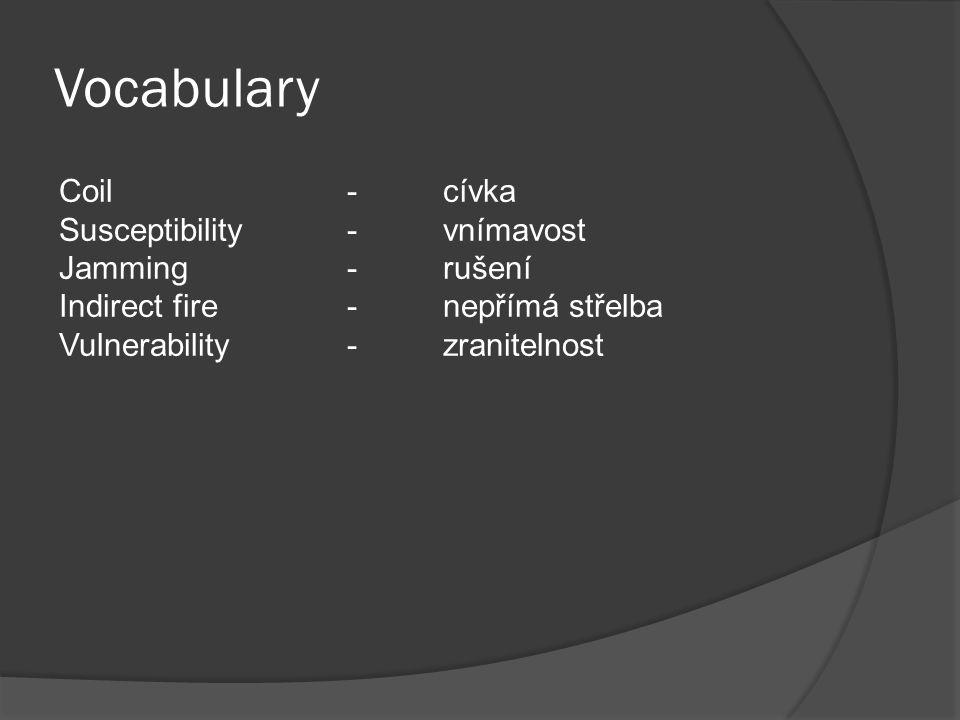 Vocabulary Coil-cívka Susceptibility-vnímavost Jamming-rušení Indirect fire-nepřímá střelba Vulnerability-zranitelnost