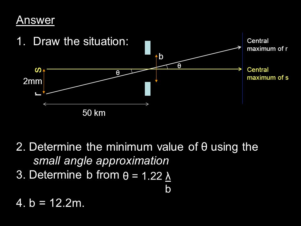 Answer 1.Draw the situation: 2. Determine the minimum value of θ using the small angle approximation 3. Determine b from 4. b = 12.2m. θ = 1.22 λ b b