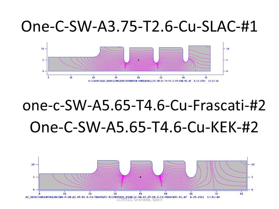 One-C-SW-A3.75-T2.6-Cu-SLAC-#1 one-c-SW-A5.65-T4.6-Cu-Frascati-#2 One-C-SW-A5.65-T4.6-Cu-KEK-#2 LCWS11, Granada, Spain