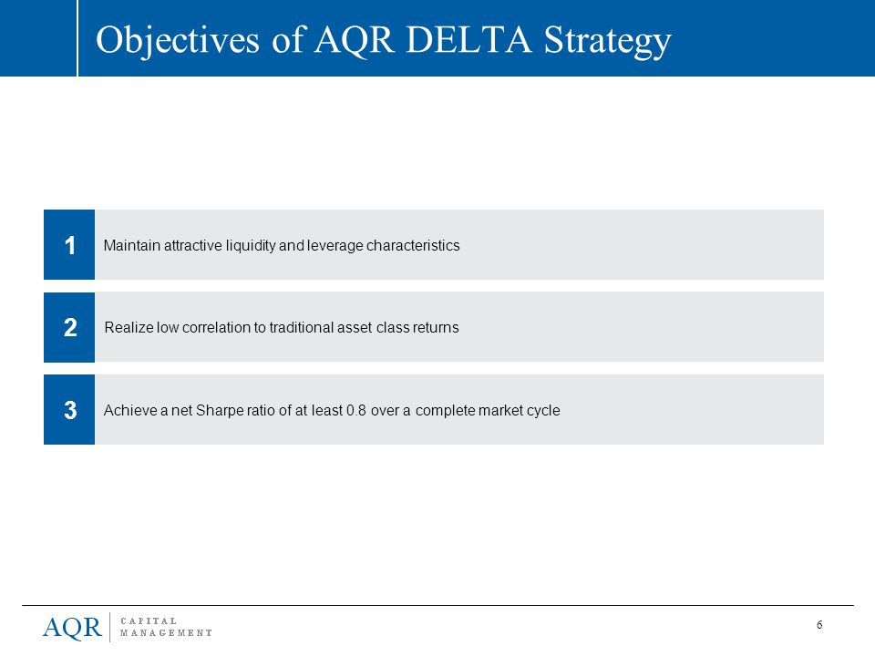 6 Objectives of AQR DELTA Strategy Realize low correlation to traditional asset class returns 2 Maintain attractive liquidity and leverage characteris