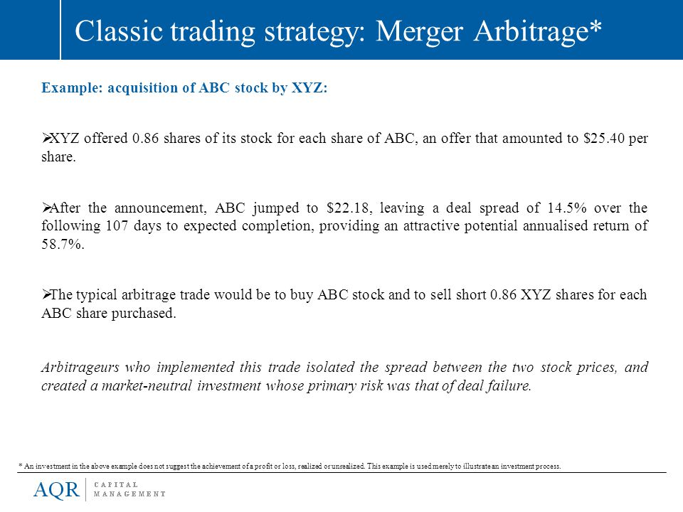 Classic trading strategy: Merger Arbitrage* Example: acquisition of ABC stock by XYZ:  XYZ offered 0.86 shares of its stock for each share of ABC, an