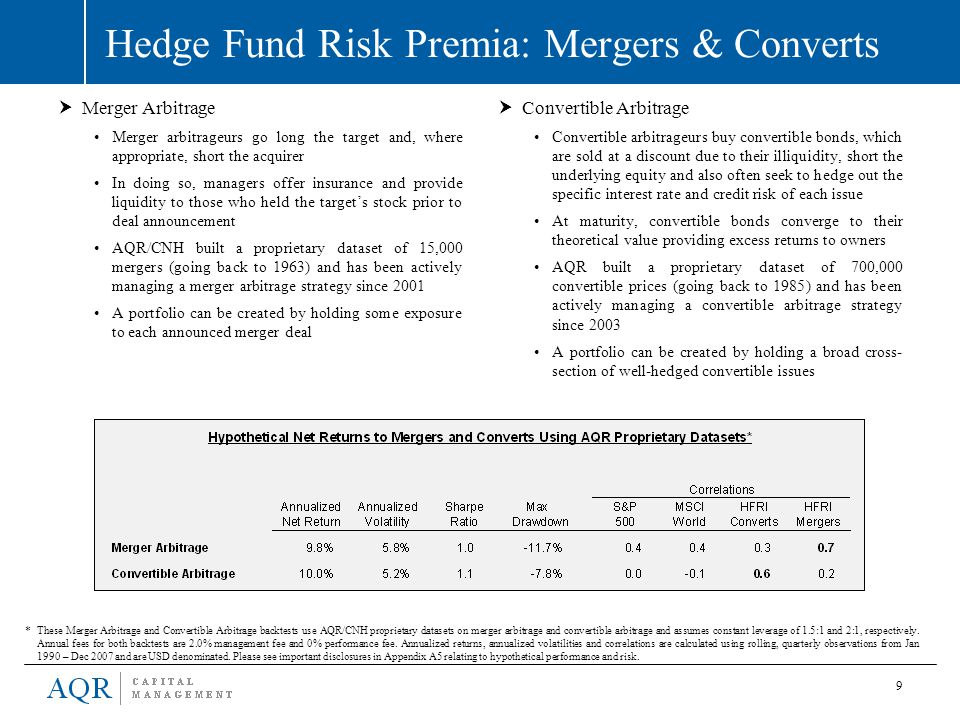 9 Hedge Fund Risk Premia: Mergers & Converts  Convertible Arbitrage Convertible arbitrageurs buy convertible bonds, which are sold at a discount due