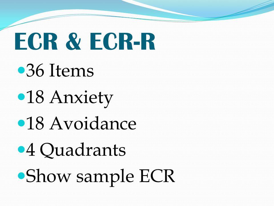 ECR & ECR-R 36 Items 18 Anxiety 18 Avoidance 4 Quadrants Show sample ECR