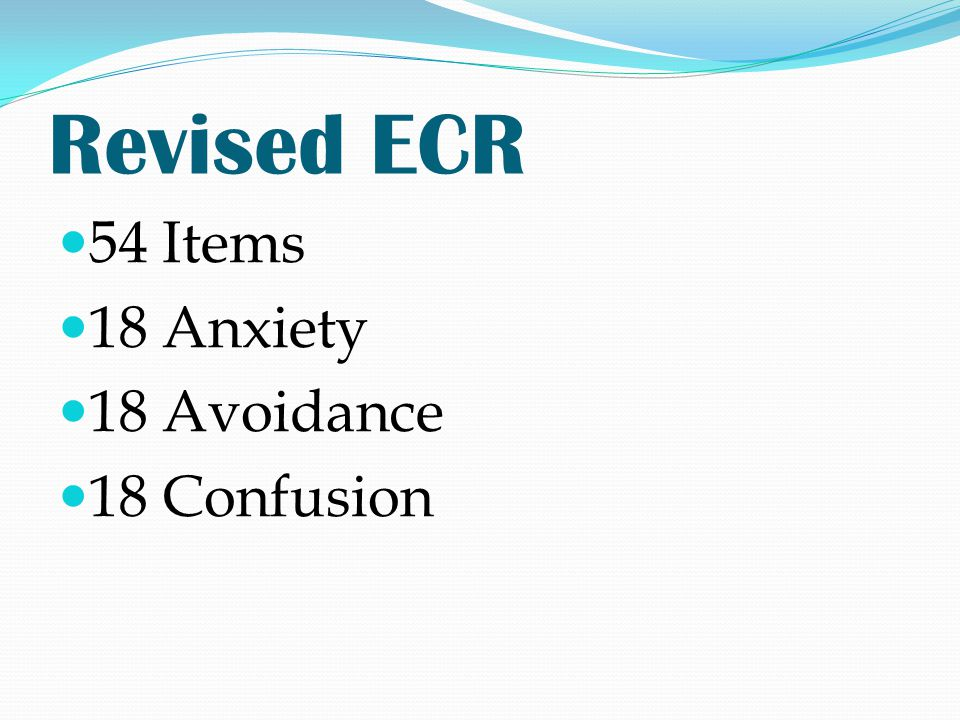 Revised ECR 54 Items 18 Anxiety 18 Avoidance 18 Confusion