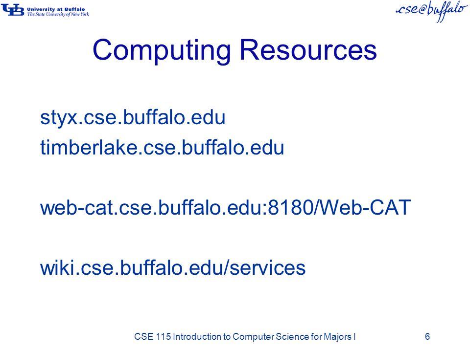 Computing Resources styx.cse.buffalo.edu timberlake.cse.buffalo.edu web-cat.cse.buffalo.edu:8180/Web-CAT wiki.cse.buffalo.edu/services CSE 115 Introdu
